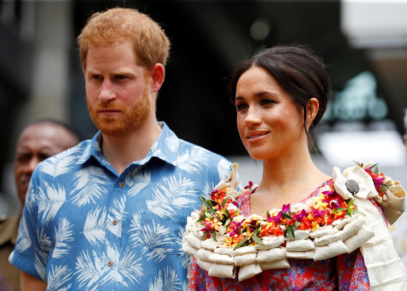 The Duke and Duchess of Sussex visit the University of the South Pacific in Suva, Fiji, on day two of the royal couple's visit to Fiji. (Photo by Phil Noble/PA Images via Getty Images)