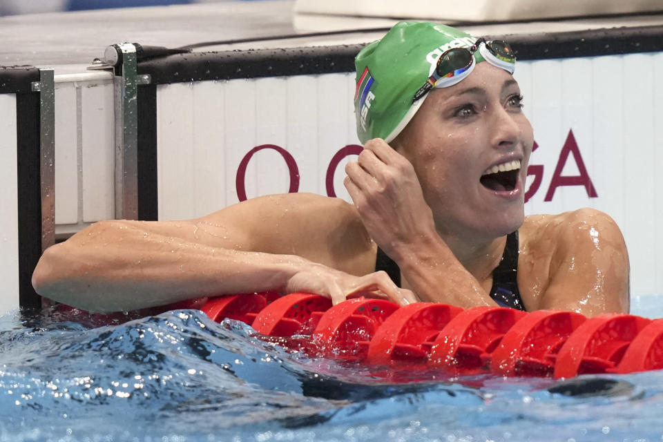Tatjana Schoenmaker of South Africa smiles after her heat in the women's 200-meter breaststroke at the 2020 Summer Olympics, Wednesday, July 28, 2021, in Tokyo, Japan. (AP Photo/Matthias Schrader)