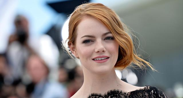 Emma Stone has jumped right on the H&M x Erdem bandwagon. (Photo: Getty Image)