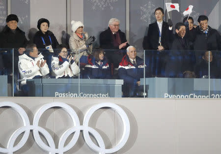 REFILE - ADDING INFORMATION Pyeongchang 2018 Winter Olympics – Opening ceremony – Pyeongchang Olympic Stadium - Pyeongchang, South Korea – February 9, 2018 - President of South Korea Moon Jae-in, his wife Kim Jung-Sook, President of the Presidium of the Supreme People's Assembly of North Korea Kim Young Nam, Kim Yo-Jong, the sister of North Koreas leader Kim Jong-un, German President Frank-Walter Steinmeier, U.S. Vice President Mike Pence and Japan's Prime Minister Shinzo Abe during the opening ceremony. REUTERS/Kim Kyung-Hoon