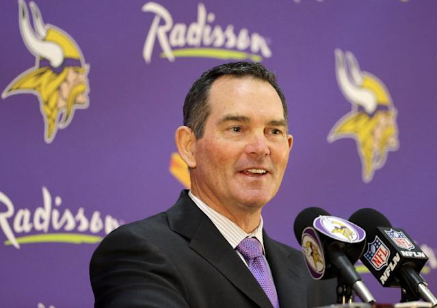 New Minnesota Vikings head coach Mike Zimmer answers a question during an NFL football media availability at Winter Park in Eden Prairie, Minn., Friday, Jan. 17, 2014. Zimmer is the ninth head coach in the Vikings' franchise history.(AP Photo/Ann Heisenfelt)