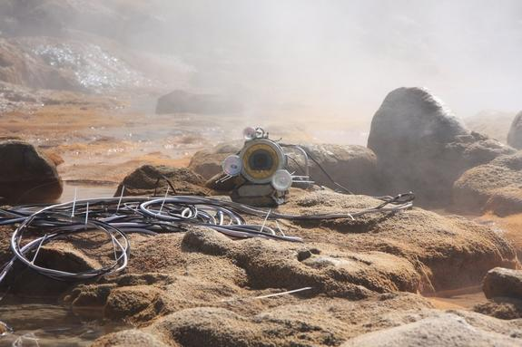 The custom-built geyser video camera used to film eruptions in the Valley of the Geysers, Kamchatka.