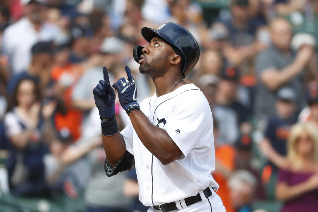 Detroit Tigers' Christin Stewart celebrates his solo home run in the third inning of a baseball game against the Minnesota Twins in Detroit, Saturday, June 8, 2019. (AP Photo/Paul Sancya)