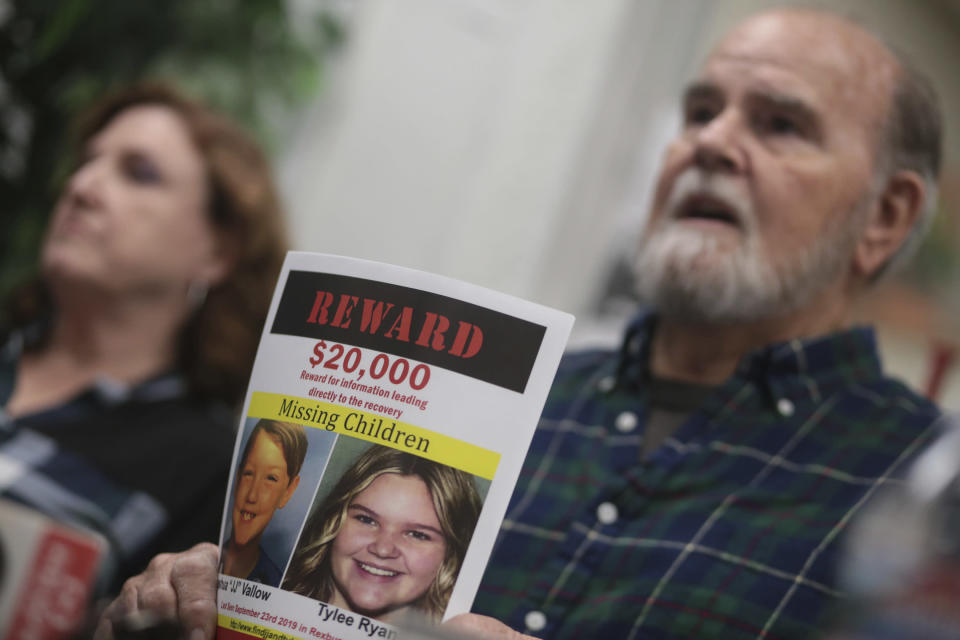 FILE - In this Tuesday, Jan. 7, 2020, file photo Kay and Larry Woodcock speak to members of the media at the Rexburg Standard Journal Newspaper in Rexburg, Idaho. The Woodcocks are offering $20,000 for information that leads to the recovery of Joshua Vallow and Tylee Ryan, who were last seen in September 2019. Their mother, Lori Vallow Daybell was charged in Idaho with murder conspiracy in the deaths of her two children and was also charged in Arizona with conspiring to murder her estranged husband Charles Vallow in 2019. (John Roark/The Idaho Post-Register via AP, File)
