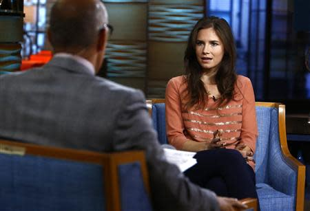 "Amanda Knox appears on NBC News' ""Today"" show in New York speaking with Matt Lauer"