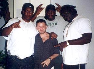 Nevin Shapiro and a second source said this photo was taken in the summer of 2002, at the booster's $2.7 million Miami Beach home. From left to right: Jerome McDougle, Cornelius Green and Andrew Williams.