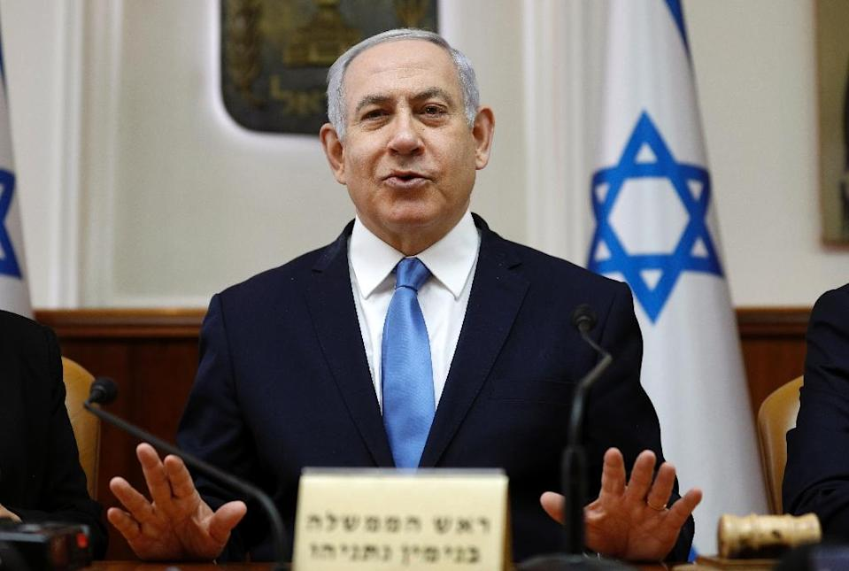 Israeli Prime Minister Benjamin Netanyahu is facing a tough challenge from a centrist alliance at April 9 elections (AFP Photo/GALI TIBBON)