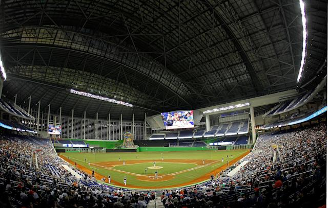 MIAMI, FL - MARCH 06: A general view of the new Marlins Ballpark during a game between the Miami Marlins and the University of Miami Hurricanes at Marlins Park on March 6, 2012 in Miami, Florida. (Photo by Mike Ehrmann/Getty Images)