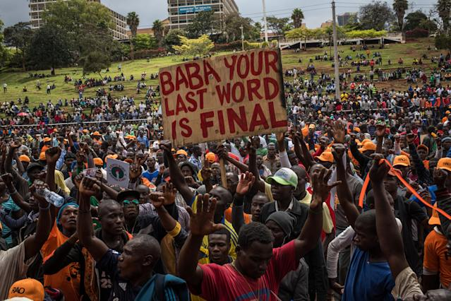 <p>Opposition supporters rally for presidential candidate Raila Odinga in Uhuru Park on Oct. 25, 2017 in Nairobi, Kenya. (Photo: Andrew Renneisen/Getty Images) </p>