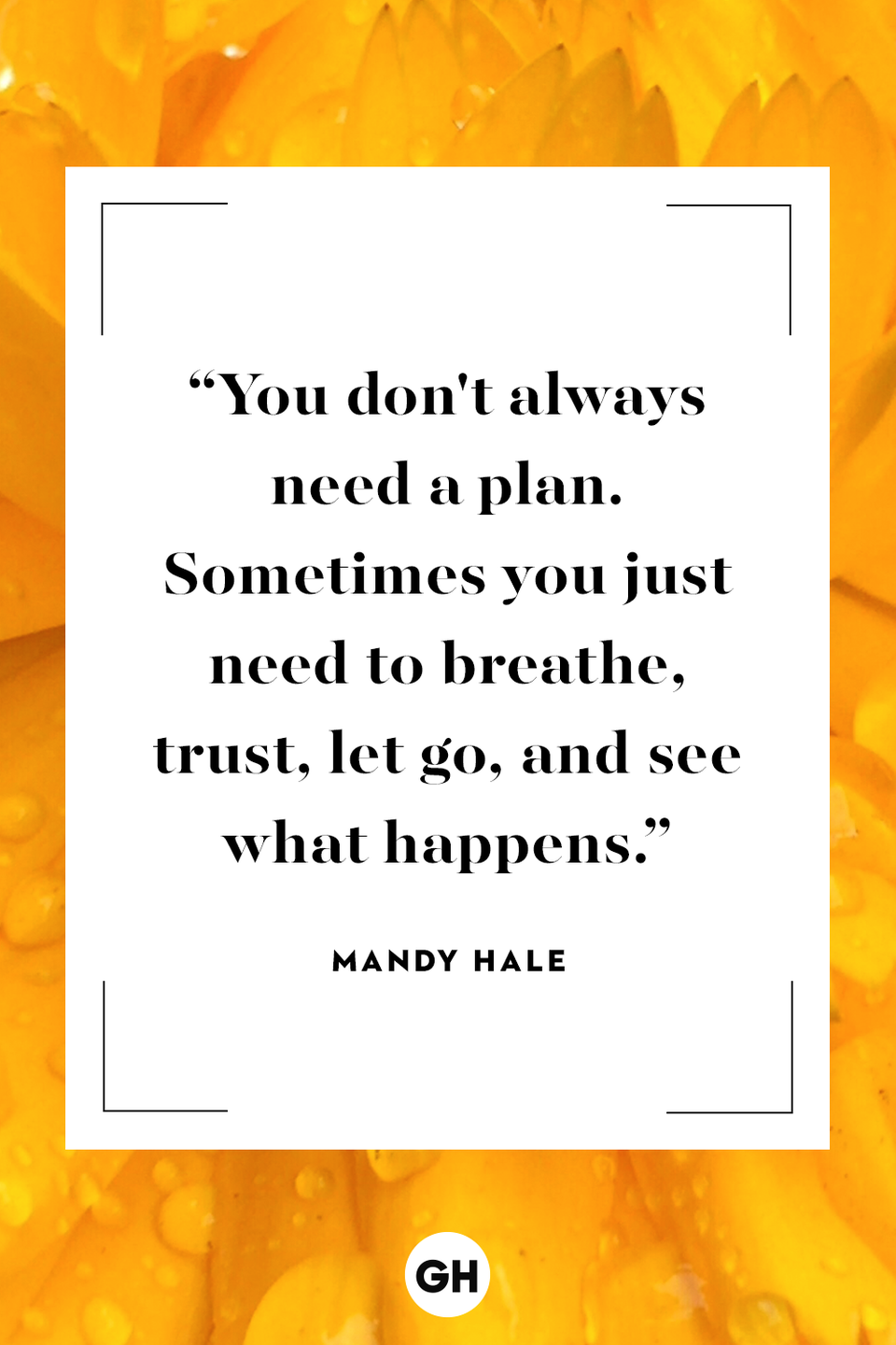 <p>You don't always need a plan. Sometimes you just need to breathe, trust, let go and see what happens.</p>