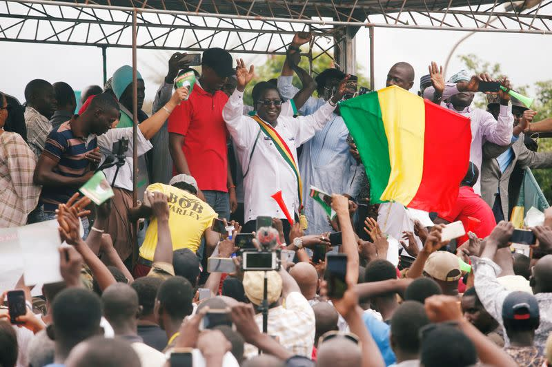 FILE PHOTO: The losing candidate in Mali's presidential election, Soumaila Cisse of opposition party URD (Union for the Republic and Democracy) gestures during a protest against what he said is fraud in the second-round vote count in Bamako