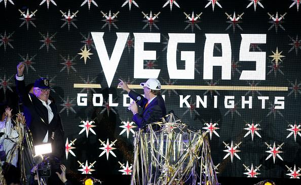 Majority owner Bill Foley reacts as the new logo and name for the Vegas Golden Knights are unveiled in Toshiba Plaza at T-Mobile Arena November 22, 2016 in Las Vegas, Nevada. The Golden Knights will begin play in the 2017-18 season. (Getty Images)