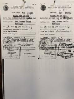 Images of a type-written visa with official stamps