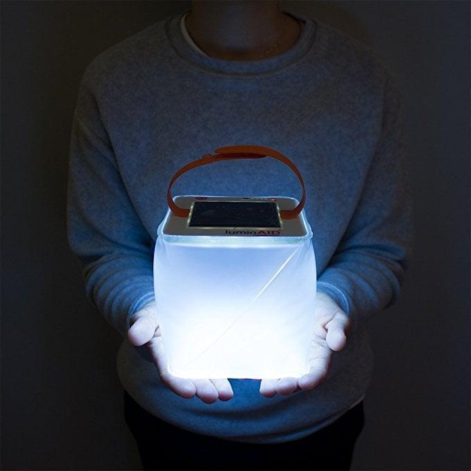 <p>Let this <span>LuminAid Solar Inflatable Lantern</span> ($25) soak up the sun in the day, so you can use its light by night.</p>