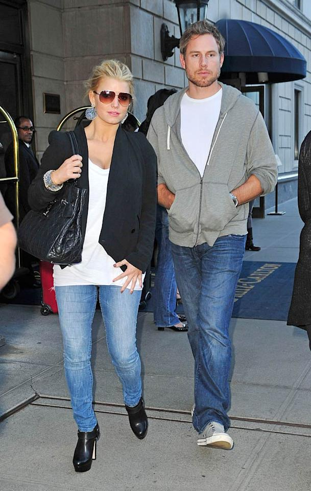 """<i>In Touch</i> magazine reports that Jessica Simpson feels """"betrayed"""" after having made some unpleasant discoveries about fiance Eric Johnson's """"secret past,"""" including that he had a """"fling with a cheerleader,"""" and that he """"studied books to snag a rich woman."""" According to the mag, Simpson also just put Johnson on her payroll, and the couple won't be signing a prenuptial agreement. Find out the truth by reading what a Simpson friend confides to <a href=""""http://www.gossipcop.com/jessica-simpson-betrayed-eric-johnson-prenup-money-rich/"""" target=""""new"""">Gossip Cop</a>. <a href=""""http://www.splashnewsonline.com/"""" target=""""new"""">Splash News</a> - September 14, 2010"""