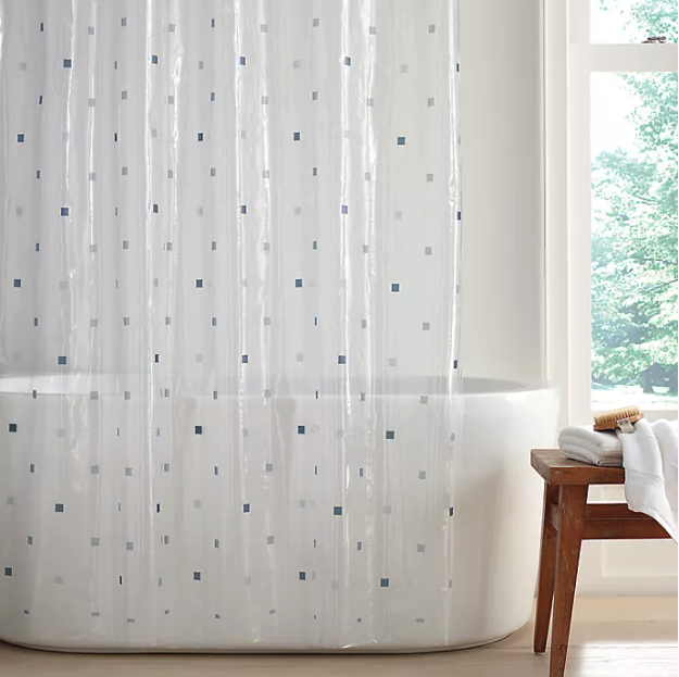 Square Dot PEVA Shower Curtain. Image via Bed Bath and Beyond.