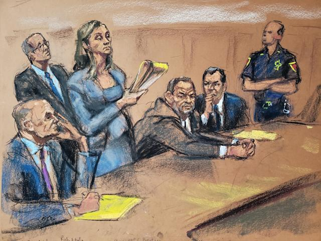 One of the courtroom sketches — though not the exact one that tipped off the writer — of artist Jane Rosenberg. (Sketch courtesy of Jane Rosenberg)
