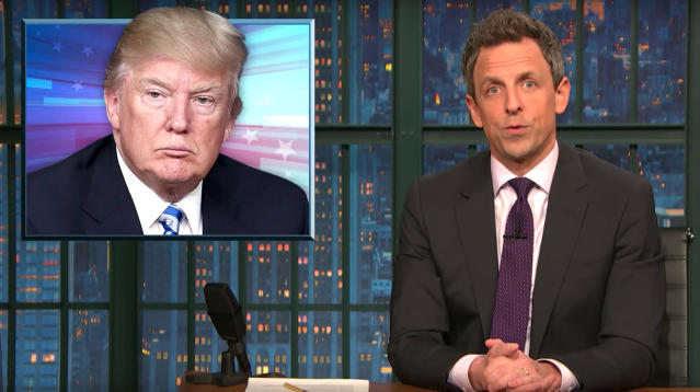 "Seth Meyers examined the Trump administration's attitude towards women on Thursday's broadcast of ""Late Night."""