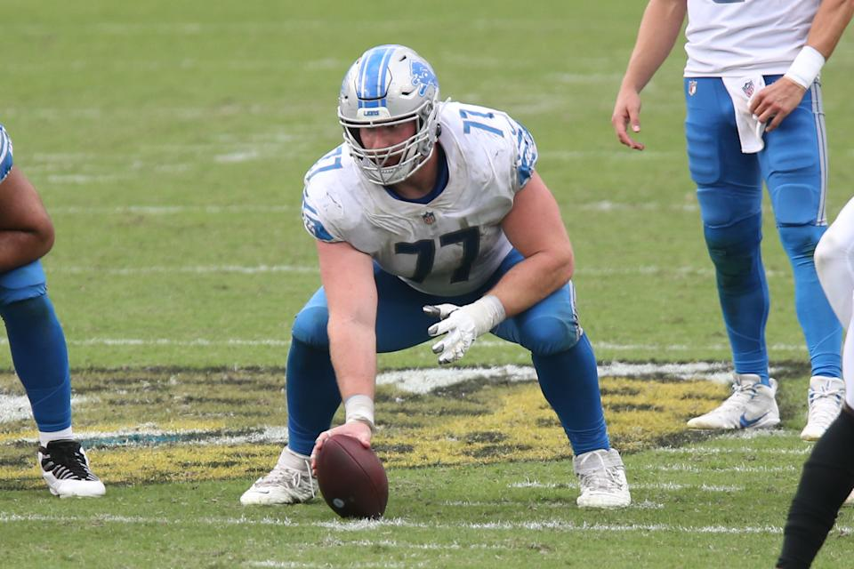 JACKSONVILLE, FL - OCTOBER 18: Detroit Lions Center Frank Ragnow (77) during the game between the Detroit Lions and the Jacksonville Jaguars on October 18, 2020 at TIAA Bank Field in Jacksonville, Fl. (Photo by David Rosenblum/Icon Sportswire via Getty Images)