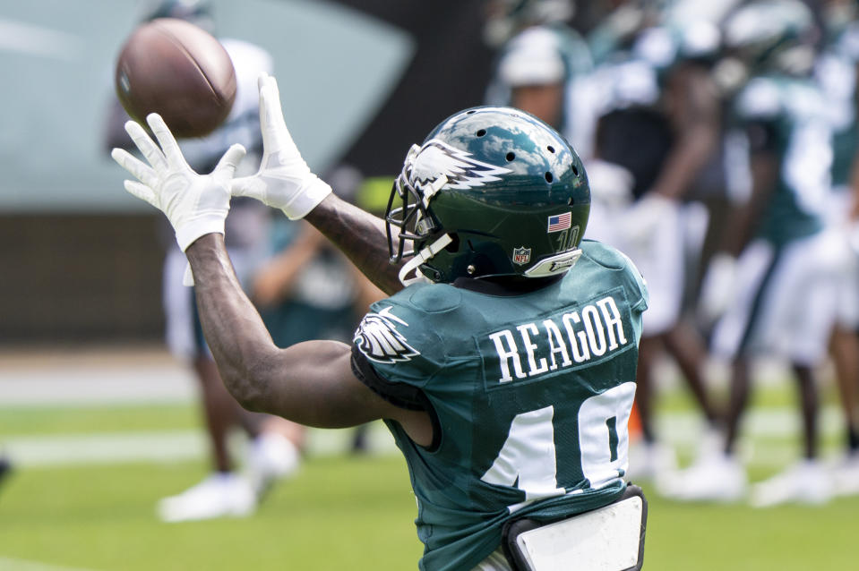 Philadelphia Eagles wide receiver Jalen Reagor catches the ball during an NFL football practice