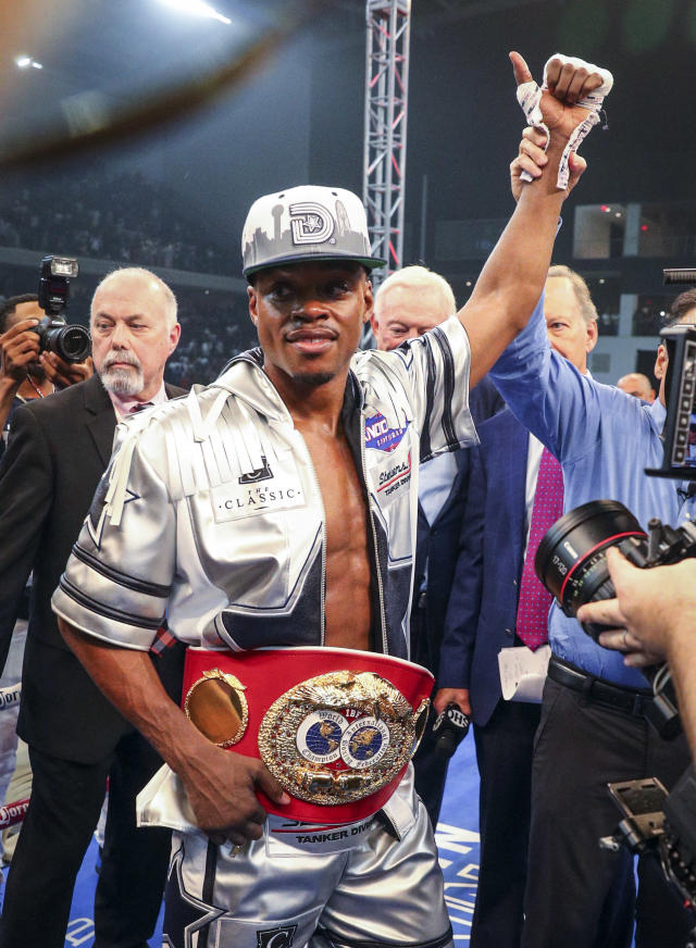 Errol Spence Jr. is declared the winner by knockout over Carlos Ocampo in the first round of an IBF welterweight title boxing match Saturday, June 16, 2018, in Frisco, Texas. (AP Photo/Richard W. Rodriguez)