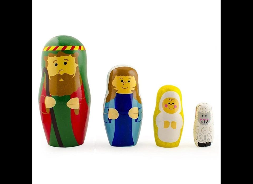 """Nativity nesting dolls are fairly common, but Oestreicher likes <a href=""""http://www.orientaltrading.com/nativity-nesting-dolls-a2-36_2900-11-1.fltr?xsaleSku=13618085"""" target=""""_blank"""">this particular set</a> because the tiny sheep fits inside Baby Jesus."""