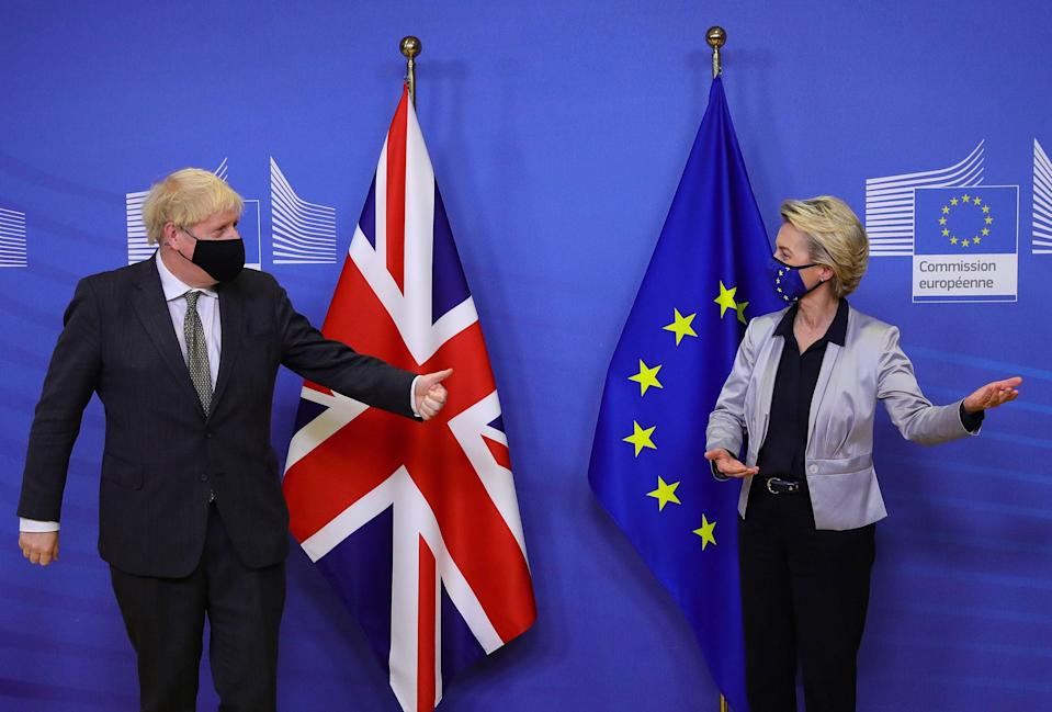 <p>Boris Johnson is welcomed by European Commission President Ursula von der Leyen in the Berlaymont building </p> (POOL/AFP via Getty Images)