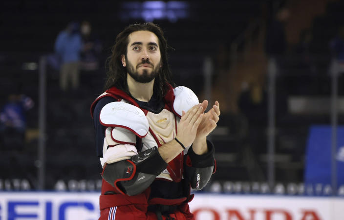 New York Rangers' Mika Zibanejad leaves the ice following the NHL hockey team's last home game of the season, against the Washington Capitals on Wednesday, May 5, 2021, in New York. (Bruce Bennett/Pool Photo via AP)