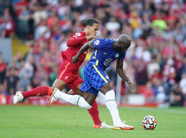Lukaku in action for Chelsea against Liverpool