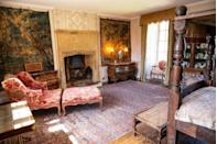"""<p>""""This bedroom has a Tudor four poster with a horsehair mattress. There's also an extremely comfortable chaise-longue which is high up on my repairs list. The stunning Flemish tapestries are also in need of restoration - it can be hard to decide what to prioritise at Mapperton.""""</p>"""