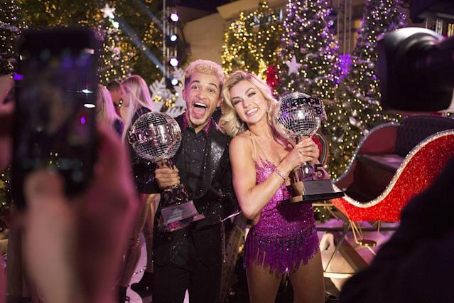 <p>Actor and singer Jordan Fisher owns the record for the most perfect scores on <em>DWTS</em>, so it's no shock he won season 25 with his partner Lindsay Arnold. Jordan was also the youngest-ever male winner at 23.</p>