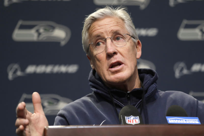 Seattle Seahawks coach Pete Carroll addresses a news conference Tuesday, Dec. 24, 2019, in Renton, Wash. When Marshawn Lynch played his last game for the Seahawks in 2016, the idea of him ever wearing a Seahawks uniform again seemed preposterous. Yet, here are the Seahawks getting ready to have Lynch potentially play a major role Sunday against San Francisco with the NFC West title on the line. (AP Photo/Elaine Thompson)