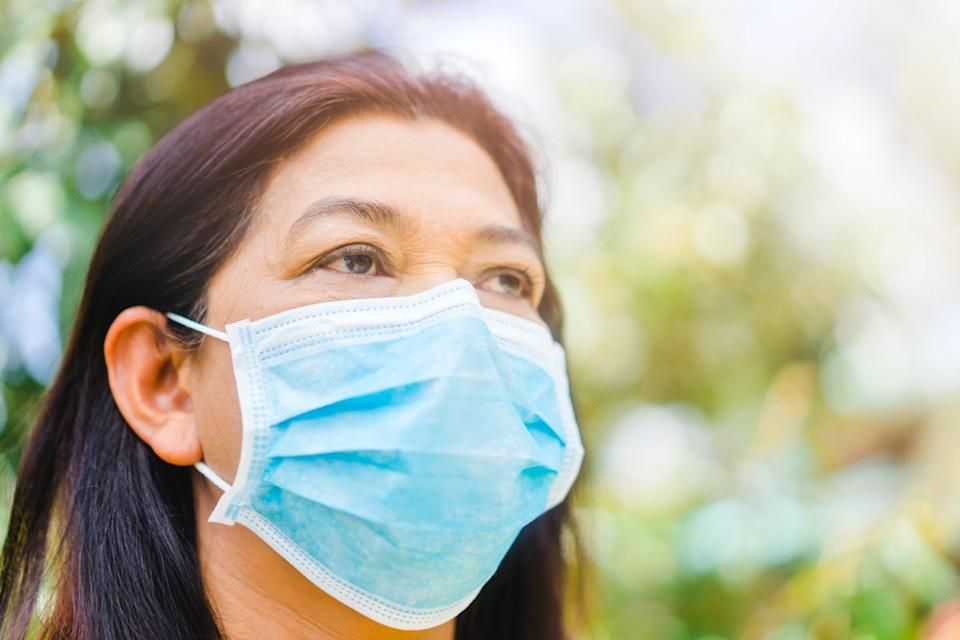 Senior old woman wearing surgical mask for protect from virus Covid-19