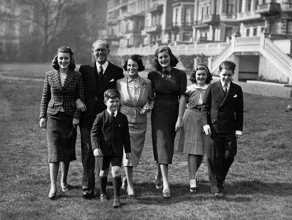 <p>The Kennedys took a family moment with five of their nine children, including Kathleen, Ted, Patricia, Jean, and Robert, at their London home, Prince's Gate.</p>
