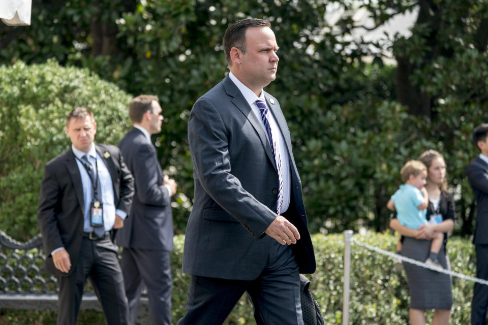 Dan Scavino walks towards Marine One on the South Lawn of the White House on Aug. 17, 2018, to join then-President Donald Trump for a short trip to Andrews Air Force Base, Md., and then on to Southampton, N.Y., for a fundraiser.