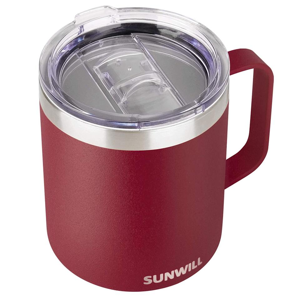 """<h2>SUNWILL Vacuum Insulated Camping Mug With Lid</h2><br><strong>Best For: Chill Hangouts</strong><br>Travel mugs aren't just for catching buses, hiking mountains, and maneuvering around the city. If you just want to sit back and relax while sipping on some perfectly hot tea, we suggest this mug (with a handle!) from SUNWILL. <br><br><em>Shop</em> <strong><em><a href=""""https://amzn.to/3biUDr9"""" rel=""""nofollow noopener"""" target=""""_blank"""" data-ylk=""""slk:SUNWILL"""" class=""""link rapid-noclick-resp"""">SUNWILL</a></em></strong><br><br><strong>SUNWILL</strong> Vacuum Insulated Camping Mug with Lid, $, available at <a href=""""https://amzn.to/3f5e6Nb"""" rel=""""nofollow noopener"""" target=""""_blank"""" data-ylk=""""slk:Amazon"""" class=""""link rapid-noclick-resp"""">Amazon</a>"""