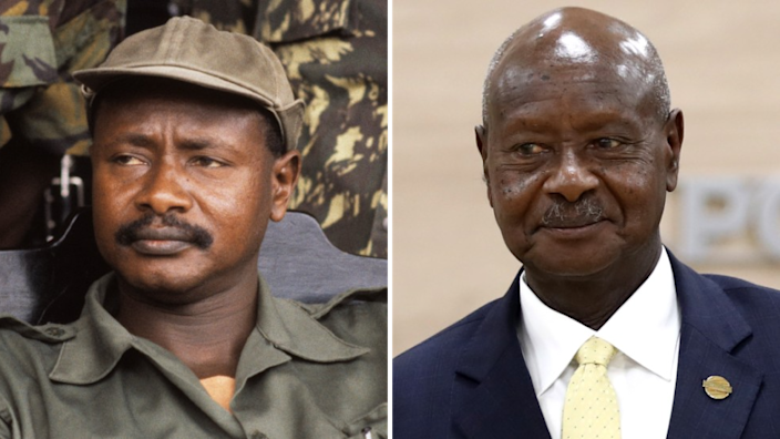Composite of pictures of Yoweri Museveni
