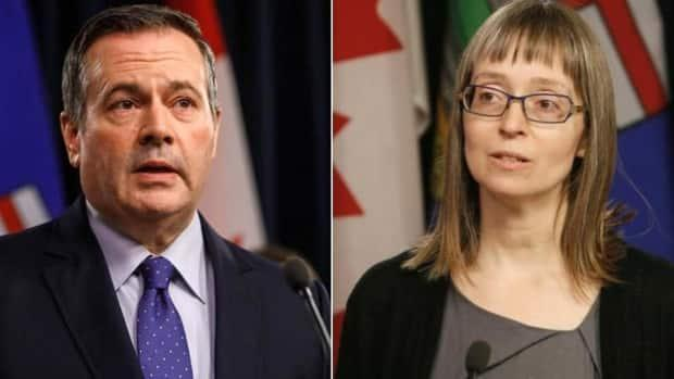 Premier Jason Kenney and Dr. Deena Hinshaw, Alberta's chief medical officer of health, were joined by the province's health and justice ministers at the Tuesday afternoon COVID-19 update. (Jason Franson/The Canadian Press, Art Raham/CBC - image credit)