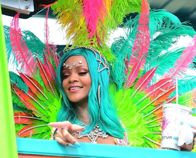 """<p>As usual, the singer looked incredible, this time while celebrating in Barbados for the Crop Over Festival. Her former flame Chris Brown <a href=""""https://www.yahoo.com/celebrity/chris-brown-apos-rihanna-apos-082605557.html"""" data-ylk=""""slk:certainly noticed"""" class=""""link rapid-noclick-resp"""">certainly noticed</a>. (Photo: 247PAPS.TV/Splash News) </p>"""