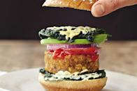 """This California-style burger was tested numerous times to ensure that the patties are crisp, firm, tasty, and delicious. The combination of rolled oats, raw walnuts, chia seeds, and flaxseed meal will keep you totally full on protein and fiber. Top with delicious avocado slices, and you've got a veggie burger unlike any you've ever tasted. <a href=""""https://www.epicurious.com/recipes/food/views/sweet-potato-avocado-burger-56389909?mbid=synd_yahoo_rss"""" rel=""""nofollow noopener"""" target=""""_blank"""" data-ylk=""""slk:See recipe."""" class=""""link rapid-noclick-resp"""">See recipe.</a>"""