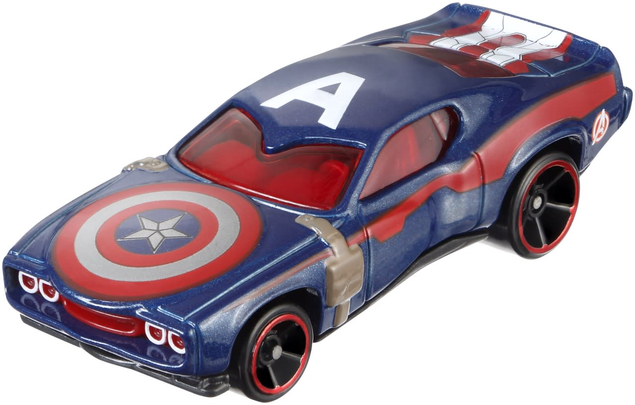 "<p>The throwback hero gets an appropriate throwback ride. This muscle car's details include Cap's shield on the hood, his ""A"" symbol on the roof, and the Avengers decal on the rear panels. </p>"
