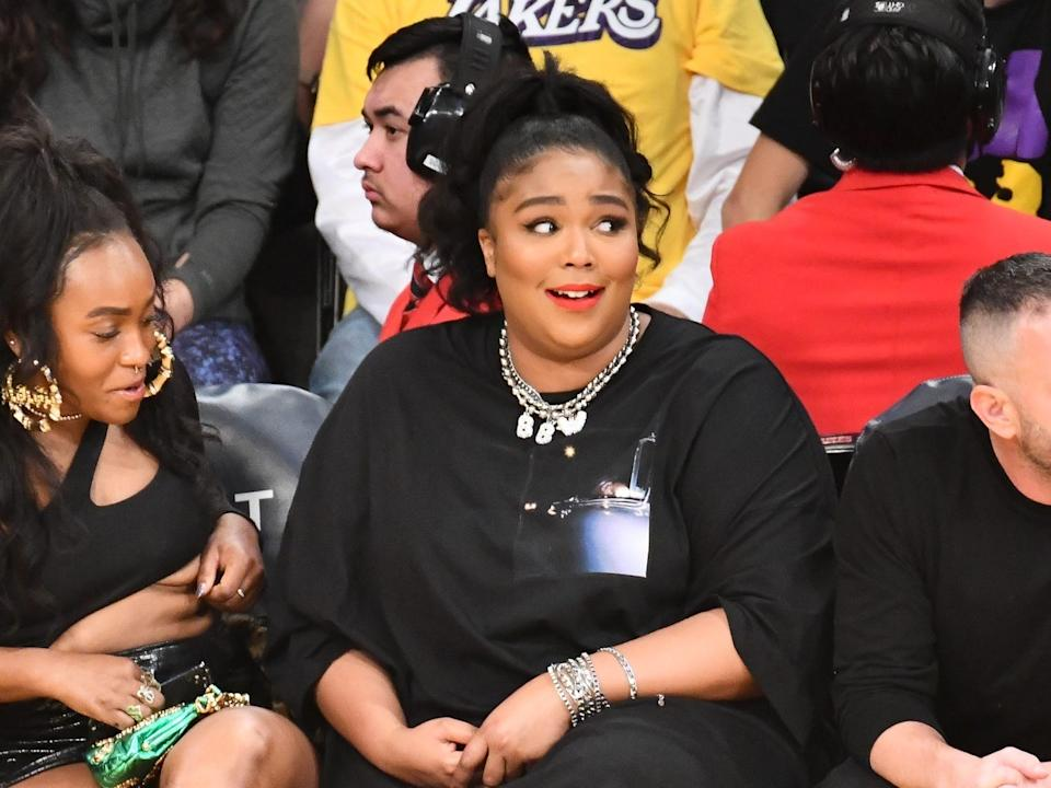 Lizzo at the Los Angeles Laker Game on Sunday, December 8, 2019.