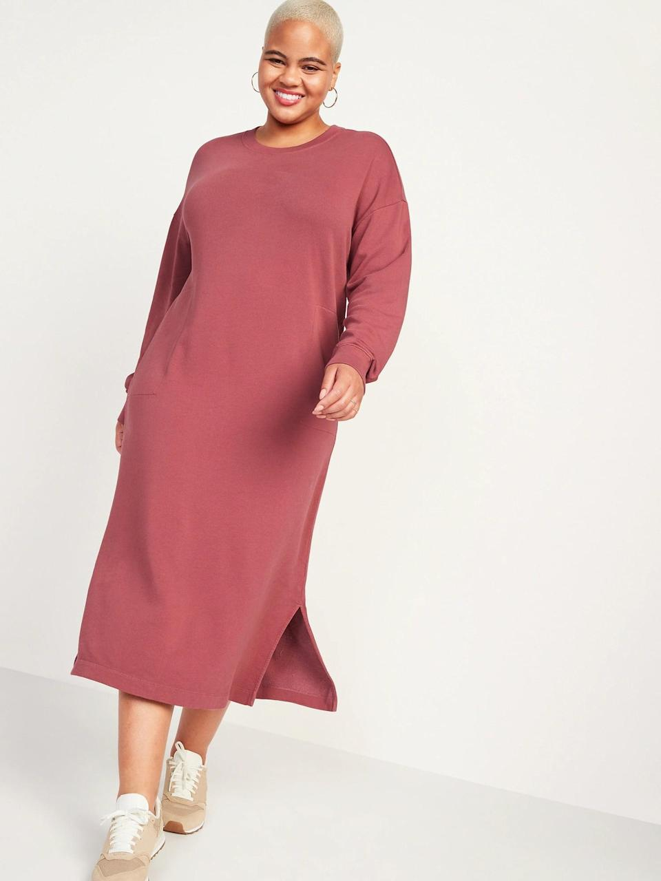<p>Honestly, this <span>Old Navy Long-Sleeve Midi Sweatshirt Shift Dress</span> ($45) is just as comfortable as your sweats. This is great for running errands or lounging around.</p>