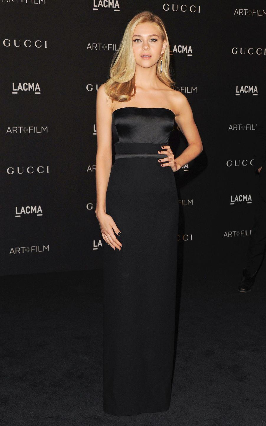 <p>The actor wore a black floor-length, strapless Gucci dress to the gala. <br></p>