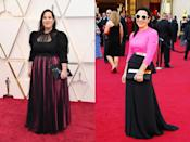 """Nominated for her work on <em>Once Upon a Time in Hollywood</em>, costume designer Arianne Phillips knew she would need a special dress for the red carpet. She ended up working with Jeremy Scott to repurpose a Juan Carlos Obando gown that she wore to the 2012 Oscars, where she was nominated for her costumes in <em>W.E.</em>. Scott disassembled the fuchsia and black silk gown and created a gown with a pouf-sleeved bodice and tulle skirt, crafted from the fabric of the original dress. """"It's really exciting to see that this dress is going to have a second life after sitting in my closet for eight years,"""" Phillips <a href=""""https://www.vogue.com/vogueworld/article/arianne-phillips-upcycled-moschino-oscars-dress?mbid=synd_yahoo_rss"""" rel=""""nofollow noopener"""" target=""""_blank"""" data-ylk=""""slk:told Vogue"""" class=""""link rapid-noclick-resp"""">told <em>Vogue</em></a>. """"And the story behind it is not just about the fashion industry needing to do better for the sake of the planet, but also my own story. Just like a bride wearing something old, the fact I am wearing a piece of the dress I won in makes it my own personal talisman."""""""