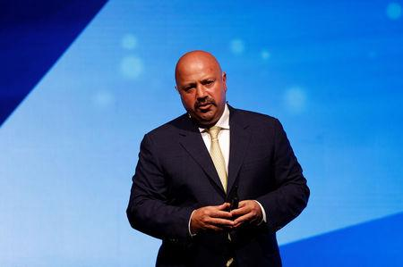 FILE PHOTO: Turkcell Chief Executive Terzioglu talks during a news conference in Istanbul
