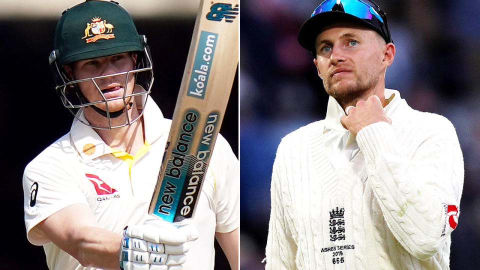 Steve Smith and Joe Root, pictured here during the second Ashes Test. Image: Getty