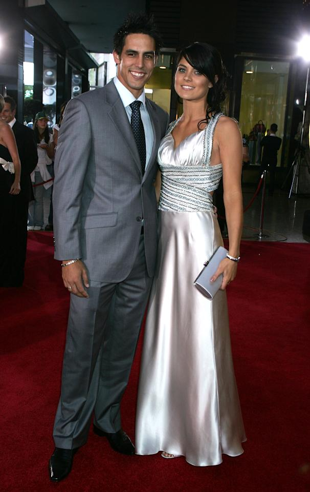 MELBOURNE, AUSTRALIA - FEBRUARY 26: Mitchell Johnson and wife Jessica Bratich arrive at the 2008 Allan Border Medal at Crown Casino on February 26, 2008 in Melbourne, Australia.  (Photo by Lucas Dawson/Getty Images)