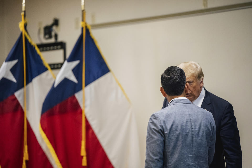 Former President Donald Trump addresses former acting U.S. Secretary of Homeland Security Chad Wolf at a border security briefing on Wednesday, June 30, 2021, in Weslaco, Texas. (Brandon Bell/Pool via AP)