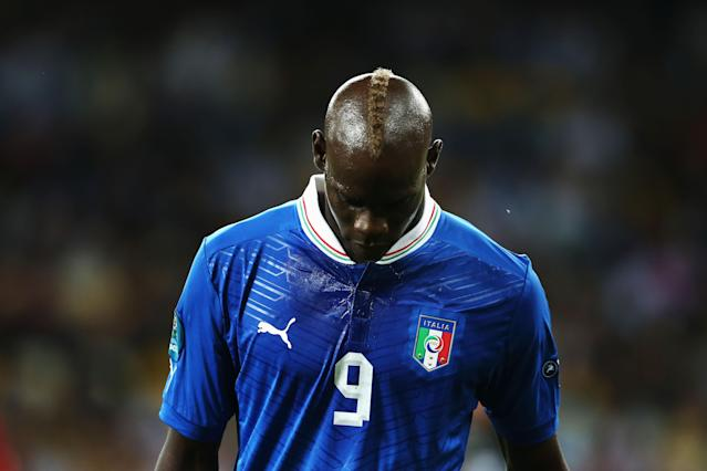 KIEV, UKRAINE - JULY 01: Mario Balotelli of Italy shows his dejection during the UEFA EURO 2012 final match between Spain and Italy at the Olympic Stadium on July 1, 2012 in Kiev, Ukraine. (Photo by Alex Grimm/Getty Images)
